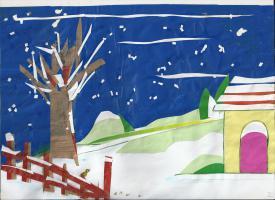La cour sous la neige