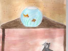 Mascotte surveille les poissons